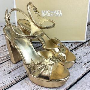 MICHAEL Michael Kors Lexie Platform Gold Stars 9